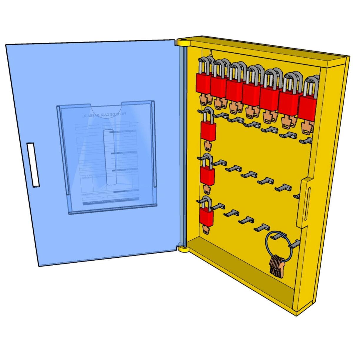 Postes de cadenassage en polyéthylène jaune vif BPC-1623-28C