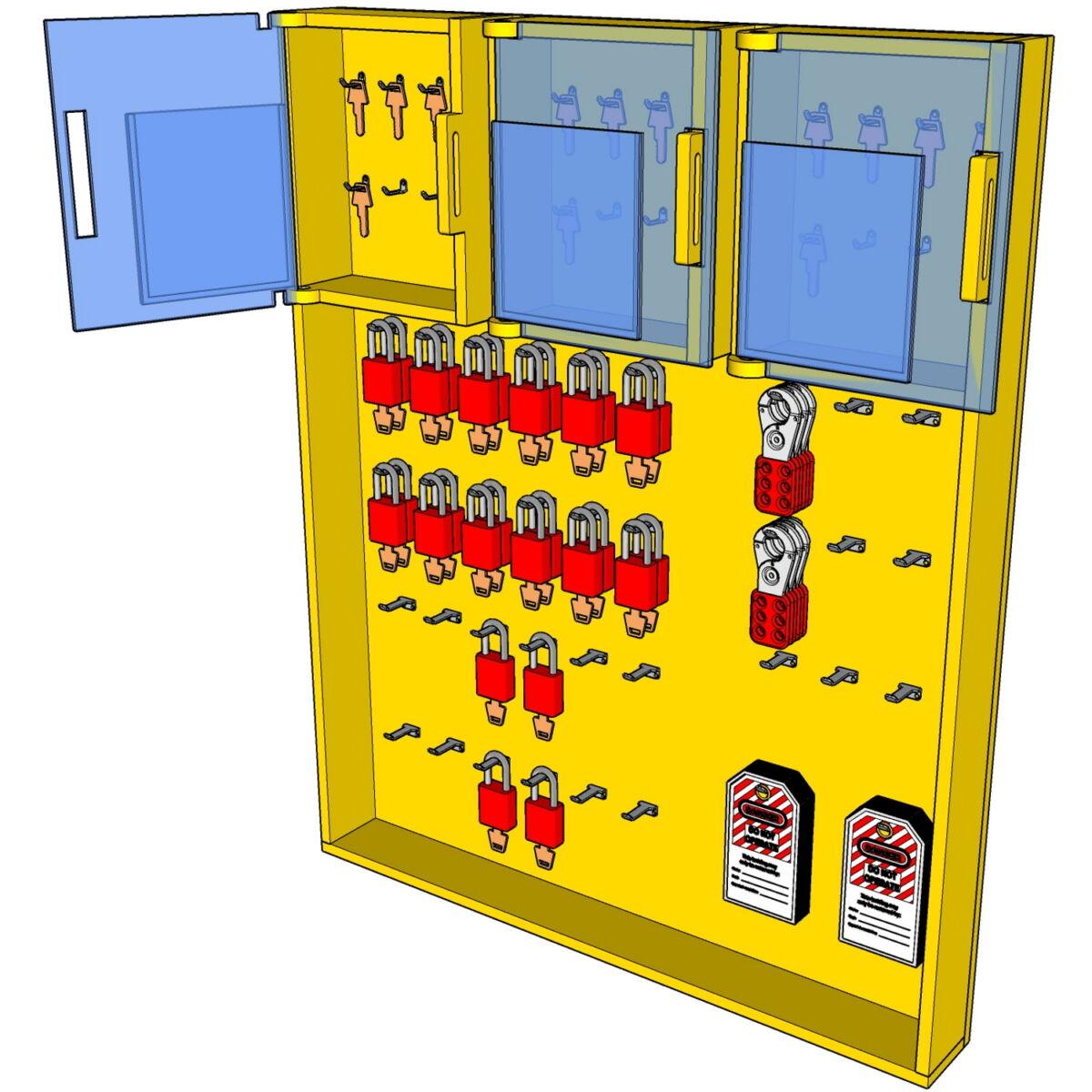 Postes de cadenassage en polyéthylène jaune vif SPC-3036