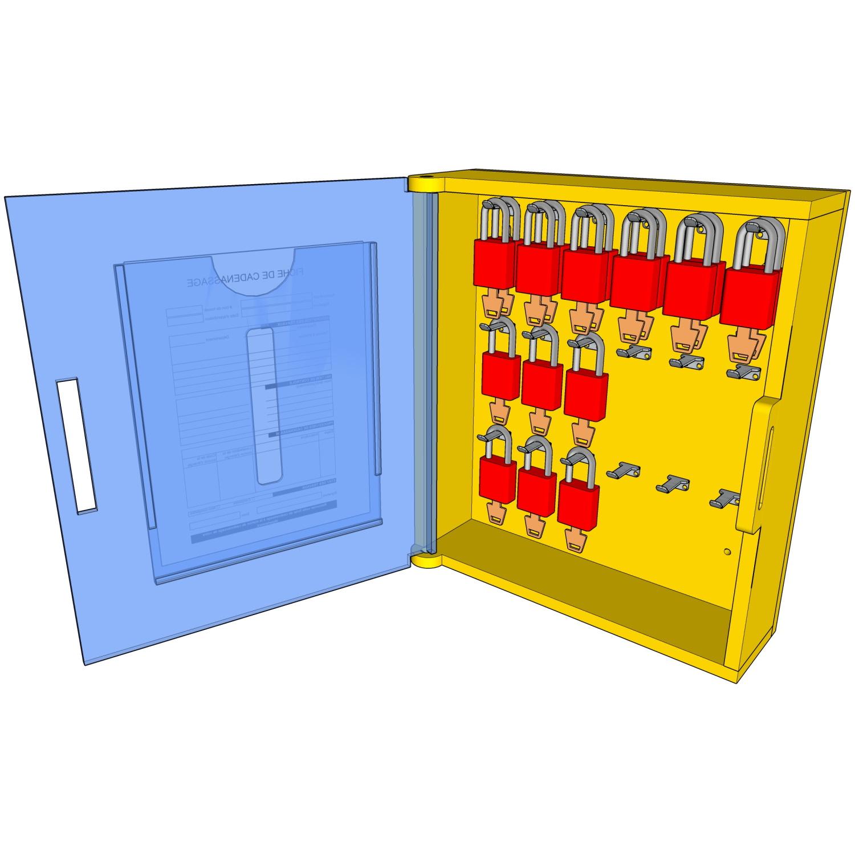 Postes de cadenassage en polyéthylène jaune vif BPC-1416-18C